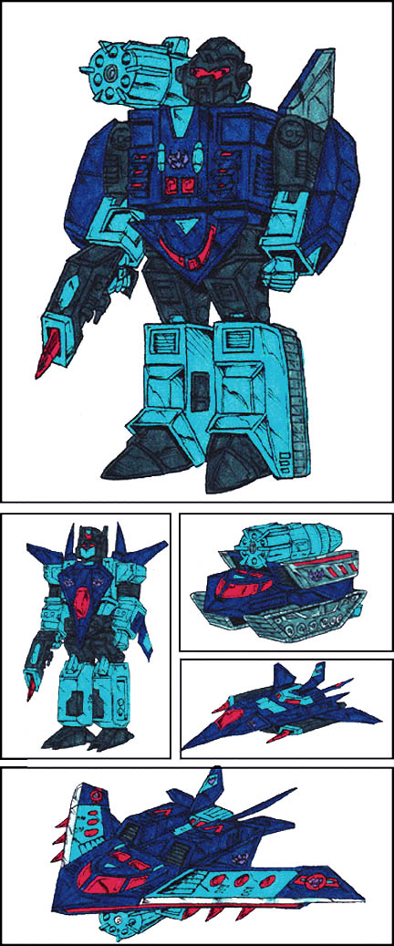 Dreadwing and Smokescreen (Robot, Tank, Jet, and Combined Modes)